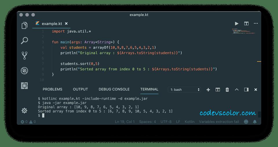 kotlin sort array