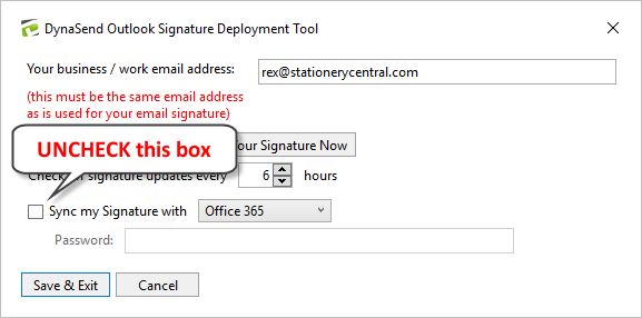 Email signature - uncheck Office 365 sync