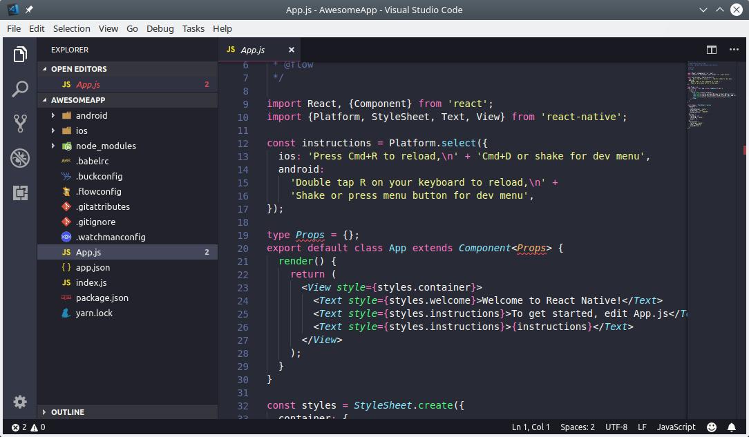Teks editor VS Code untuk Coding React Native