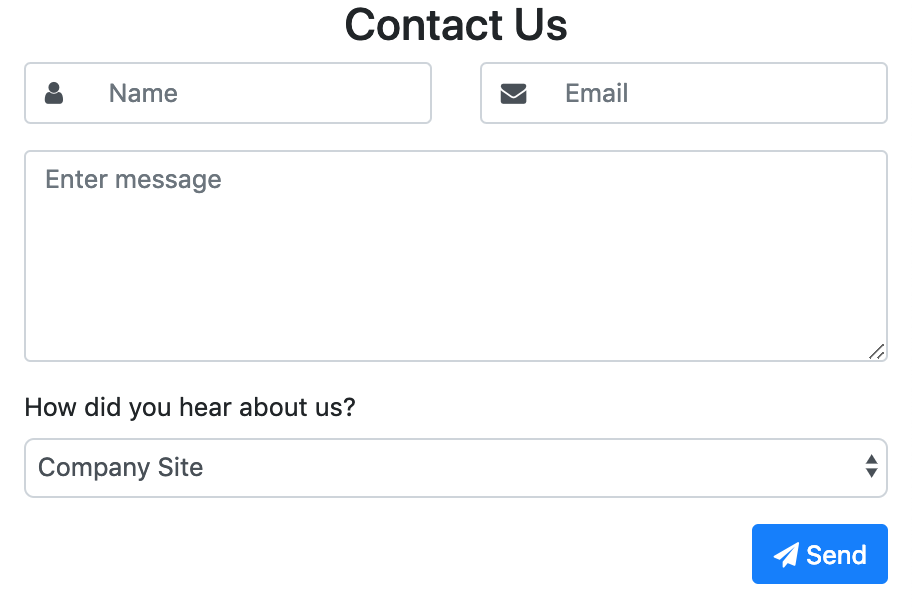 Contact form with drop-down screenshot