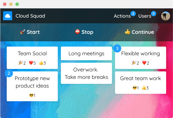TeleRetro agile board with 3 columns: Start, Stop & Continue