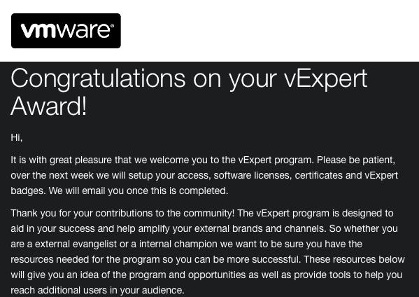 VMware vExpert Email