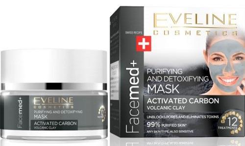 EVELINE Facemed+ tisztító és detoxikáló arcmaszk aktív karbonnal és vulkanikus agyaggal 50 ml | Eveline Cosmetics