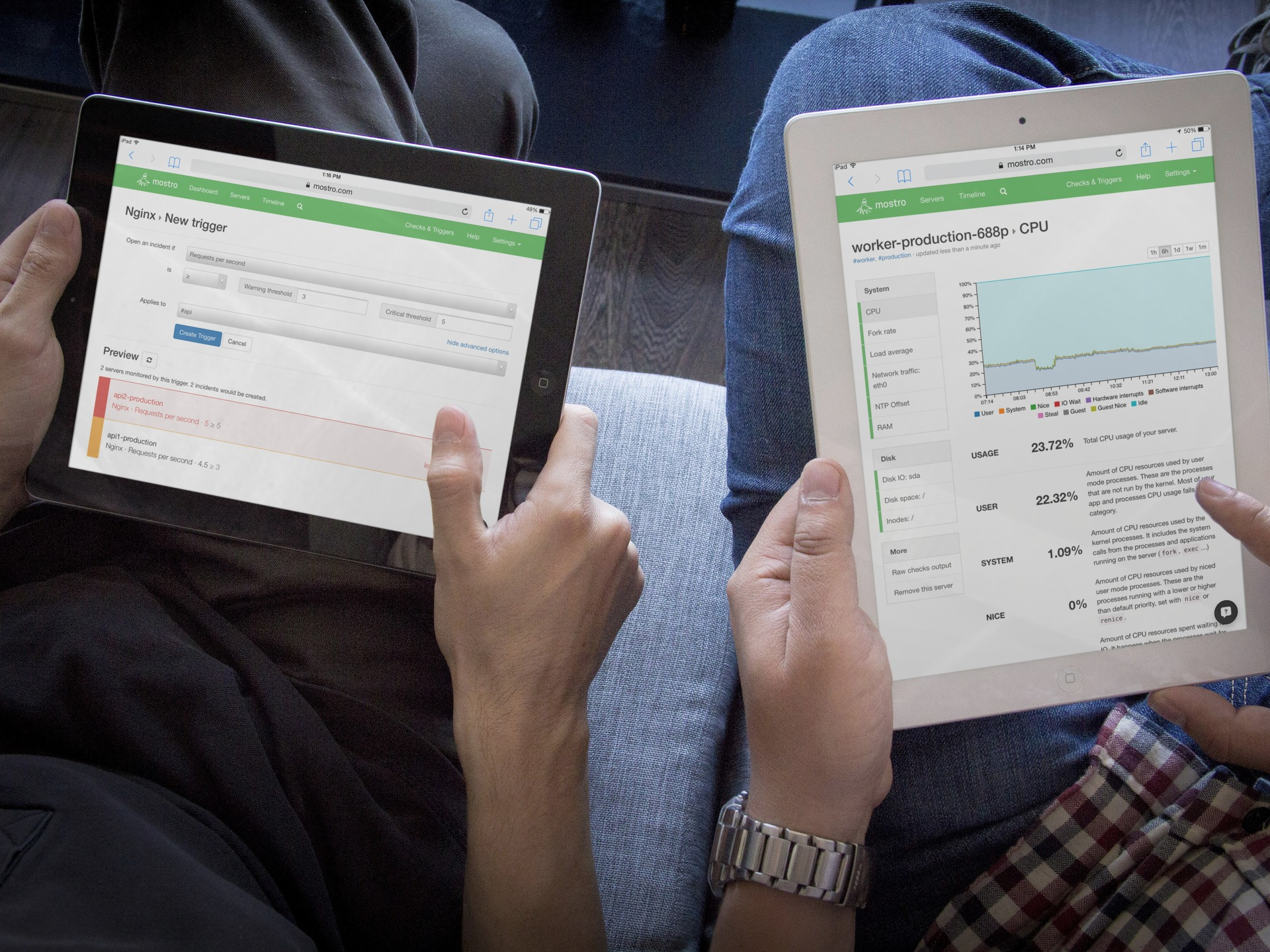Top-down view of two pairs of hands, each holding and interacting with an iPad. The left iPad displays the configuration for a new alert trigger for the Nginx web server. The right iPad displays a server's CPU usage chart.