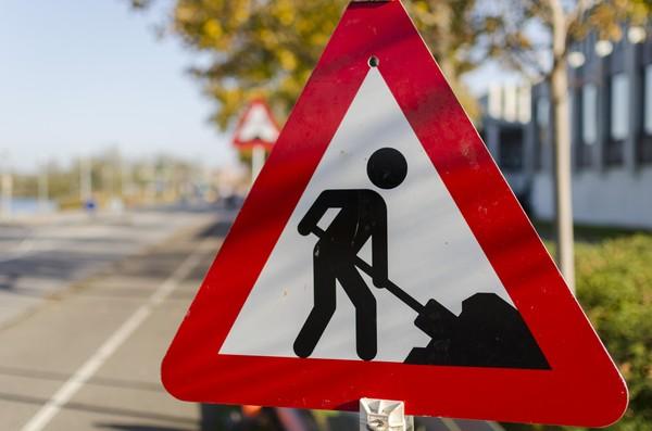 Road works safety sign