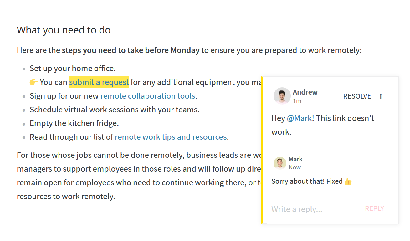 Business memo example with feedback