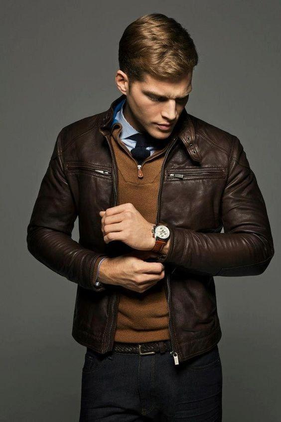 Veste en cuir avec poches à fermetures éclairs