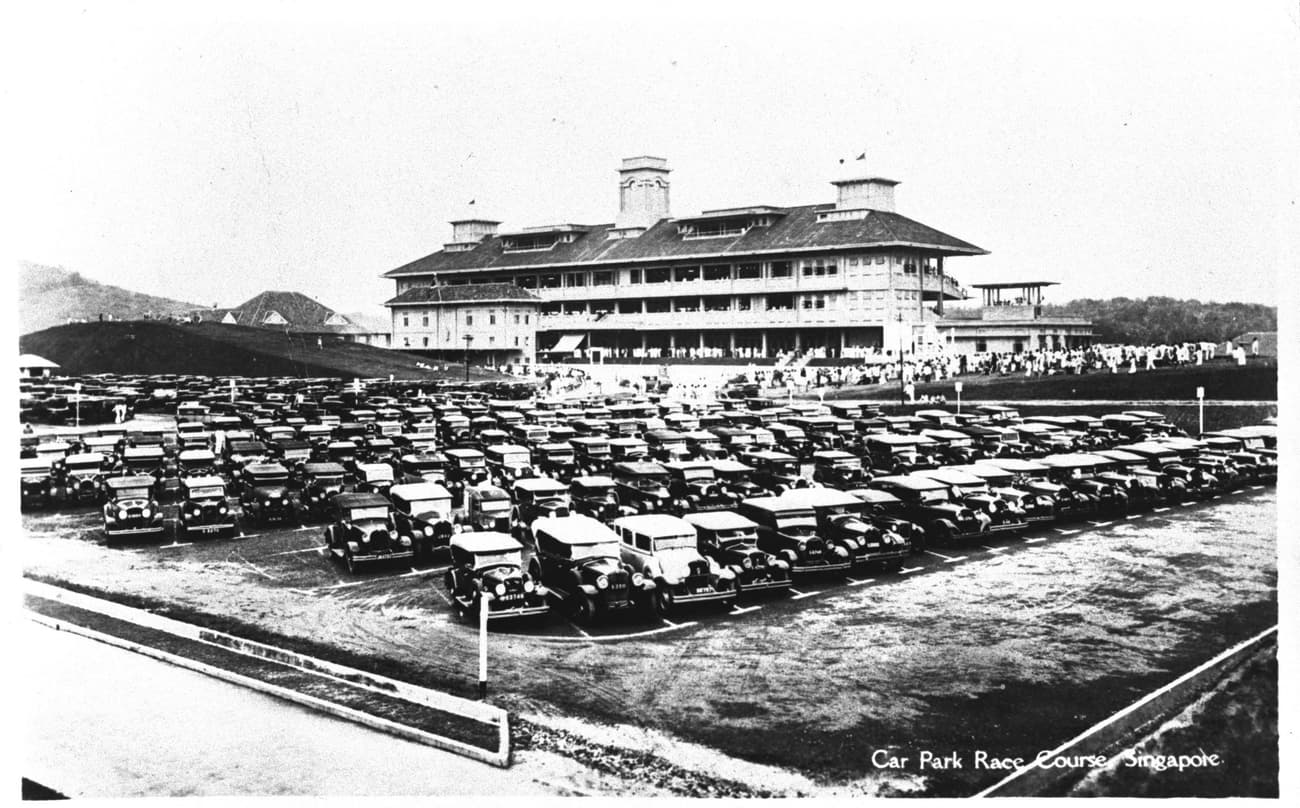 Car park at Bukit Timah race course, 1936