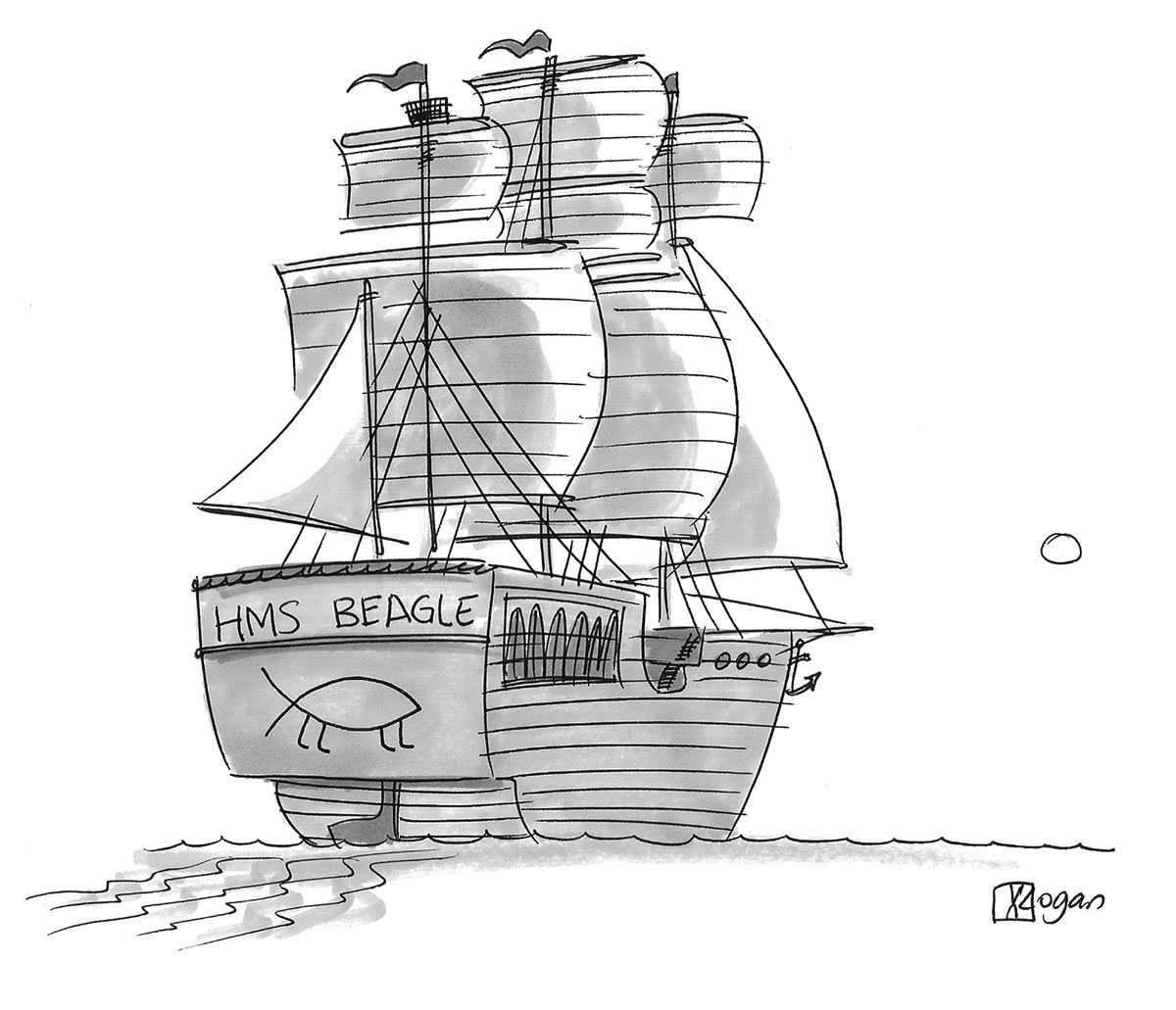 (The HMS Beagle ship has a Darwin Fish on the back.)