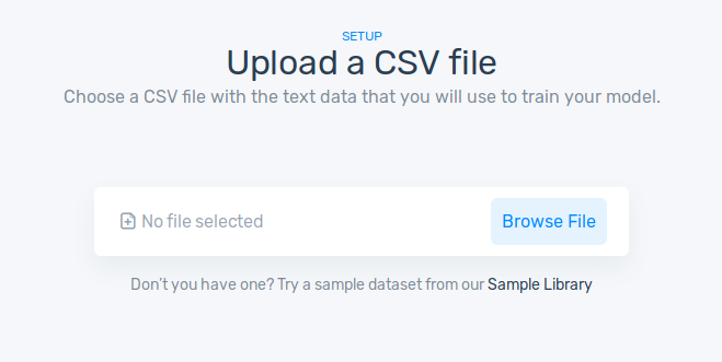Uploading a CSV file with the sample dataset