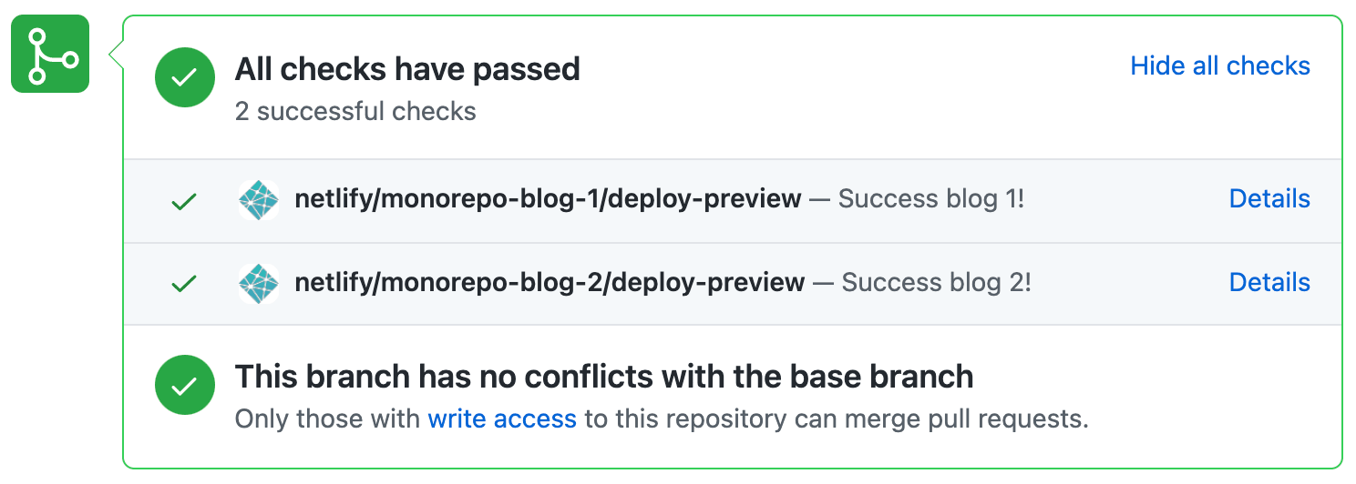 Multiple Deploy Preview status checks per pull request.