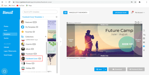 Step 1: Create an free account with Stencil to design your image