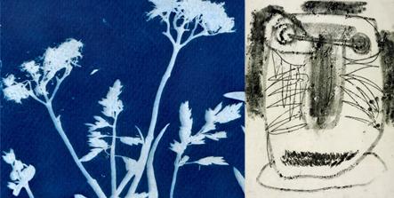 foto blauwdruk en monotype