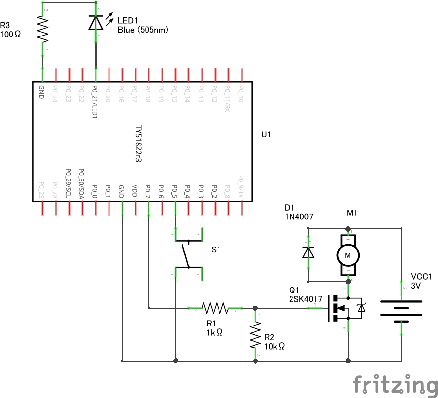 DC モーターの回路図