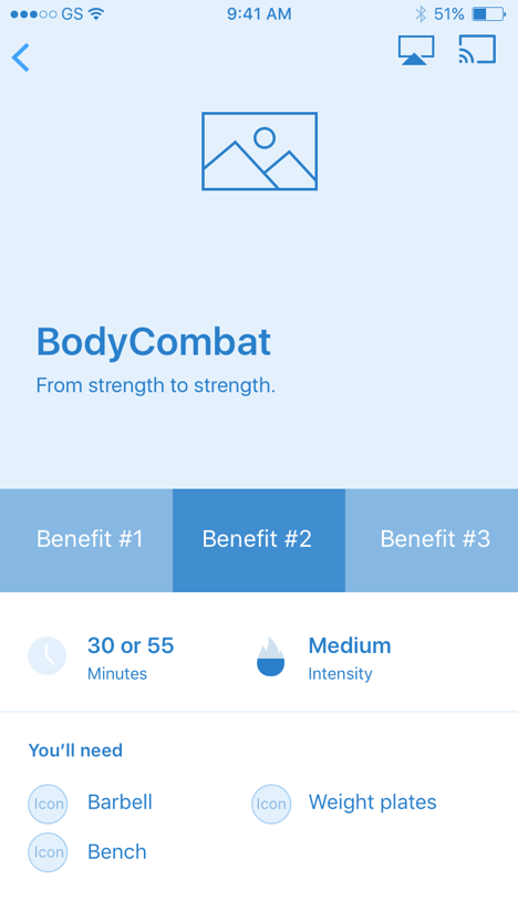 Mid-fidelity wireframe of Les Mills mobile app, designed and developed by AgilityIO