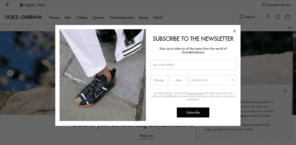 Dolce Subscription Popup
