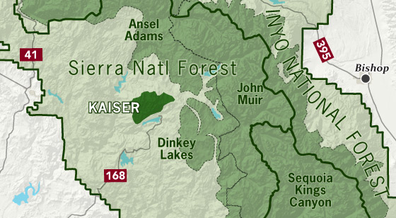 area map of Kaiser Wilderness