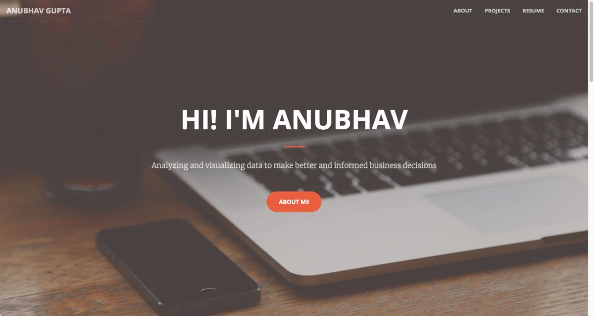 The homepage of Anubhav Gupta's data analytics portfolio