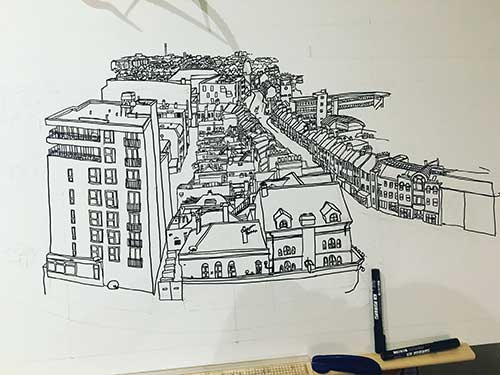 Drawing of the Walthamstow skyline