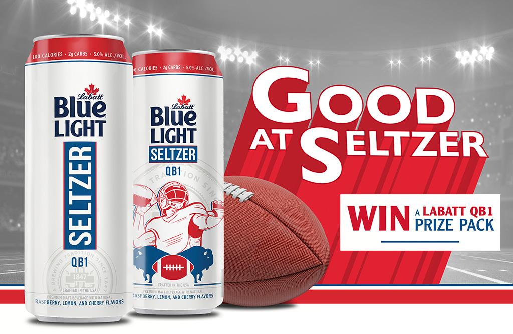 Photograph of Buffalo Bills quarterback Josh Allen standing in a football stadium. Text reads: Good at Seltzer. Win a Labatt QB1 Prize Pack