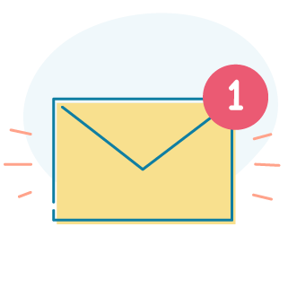 An icon of an envelope with a red notification circle showing 1 unread message.