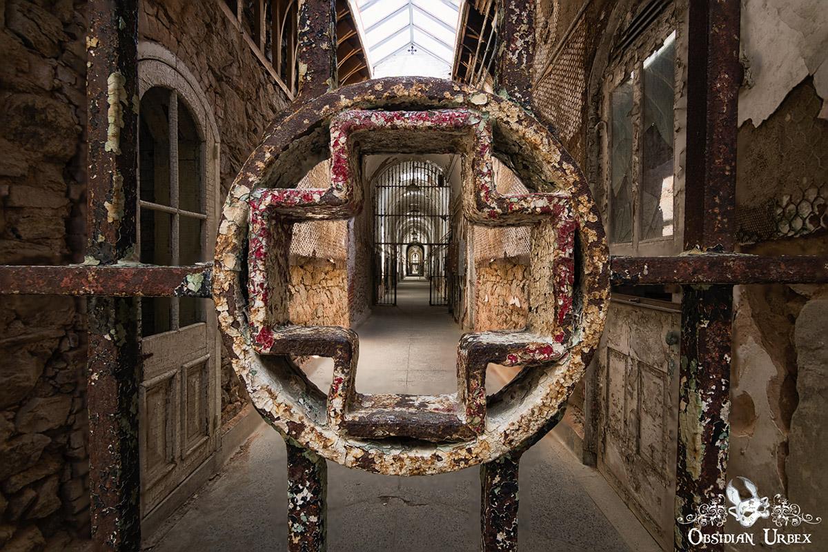 abandoned prison hallway