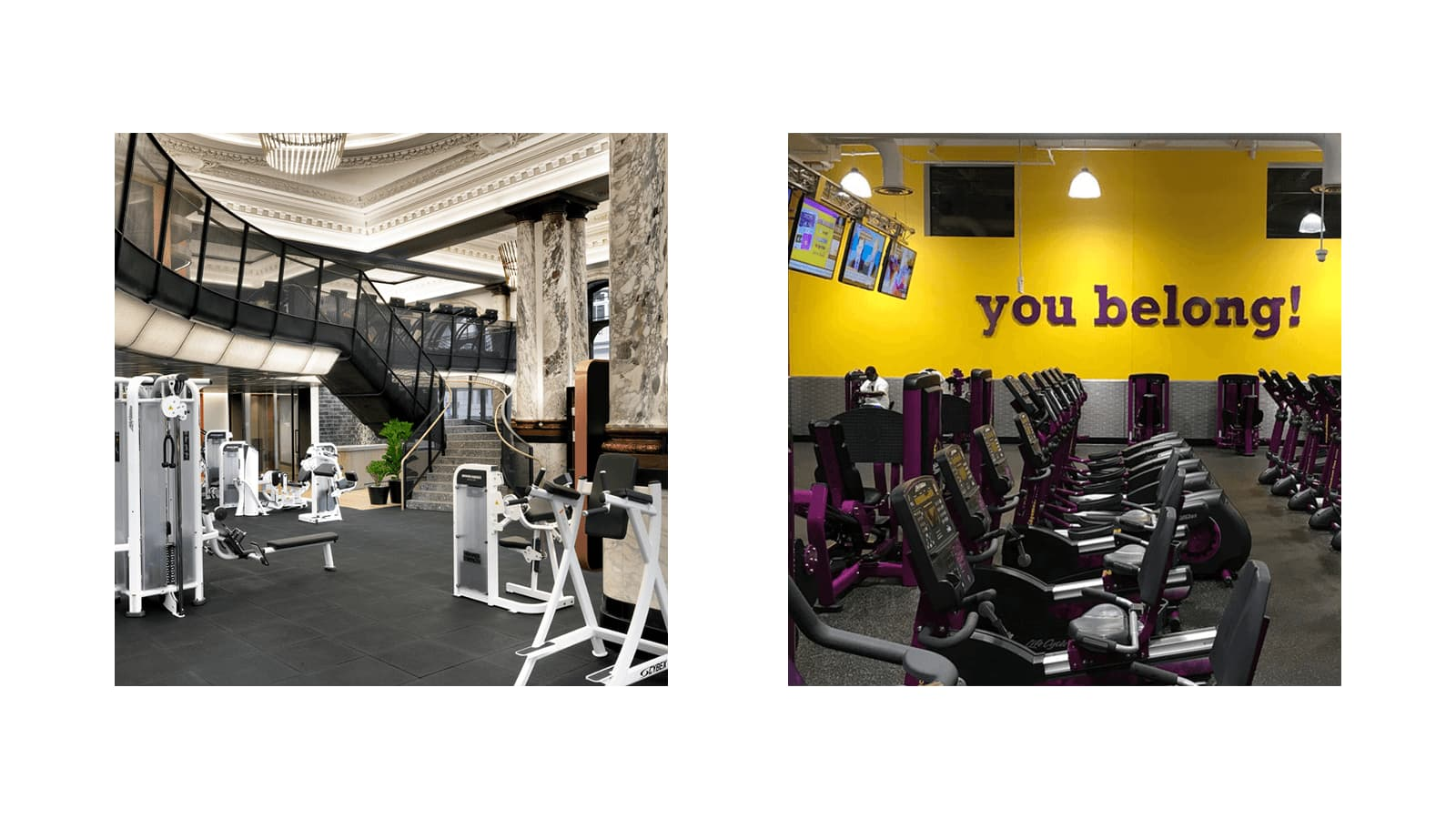 Equinox location in London juxtaposed to Planet Fitness location