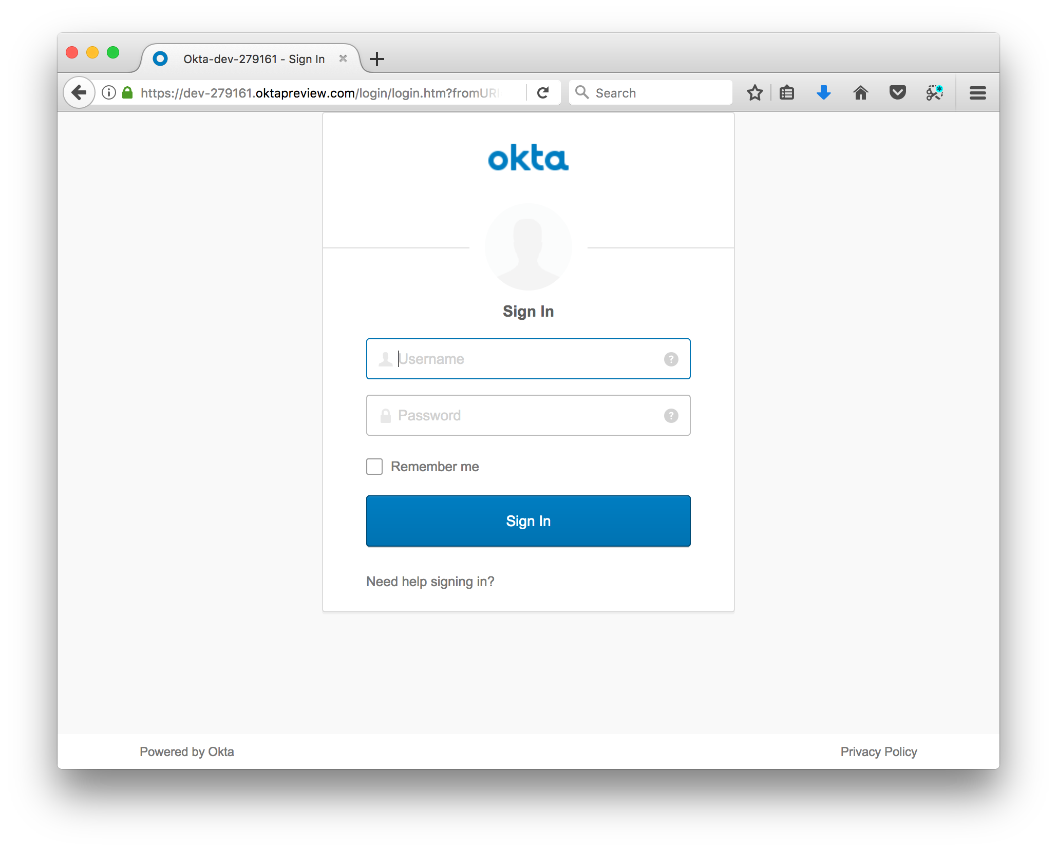 Screen Shot of Okta Login