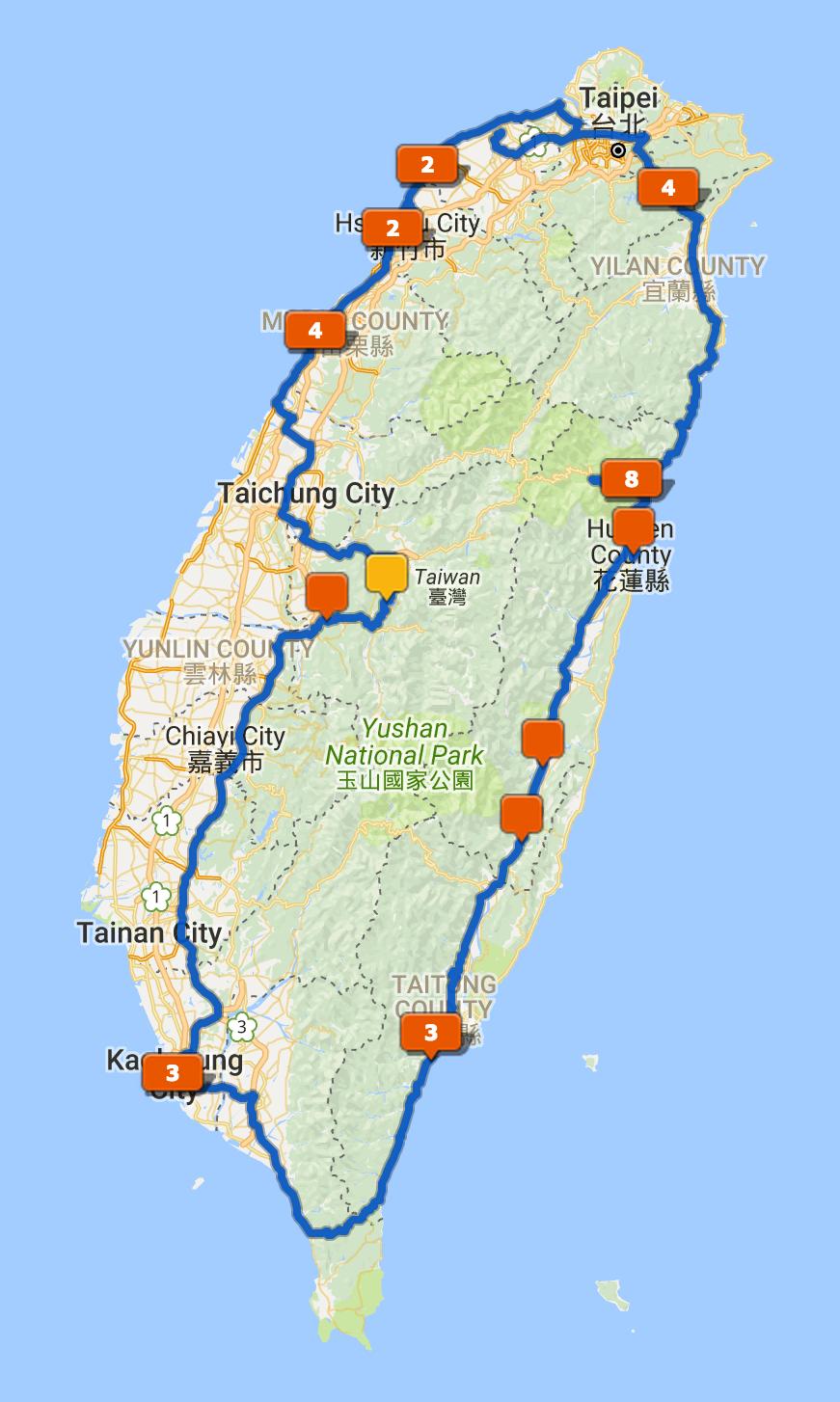 Taiwan tracklog.