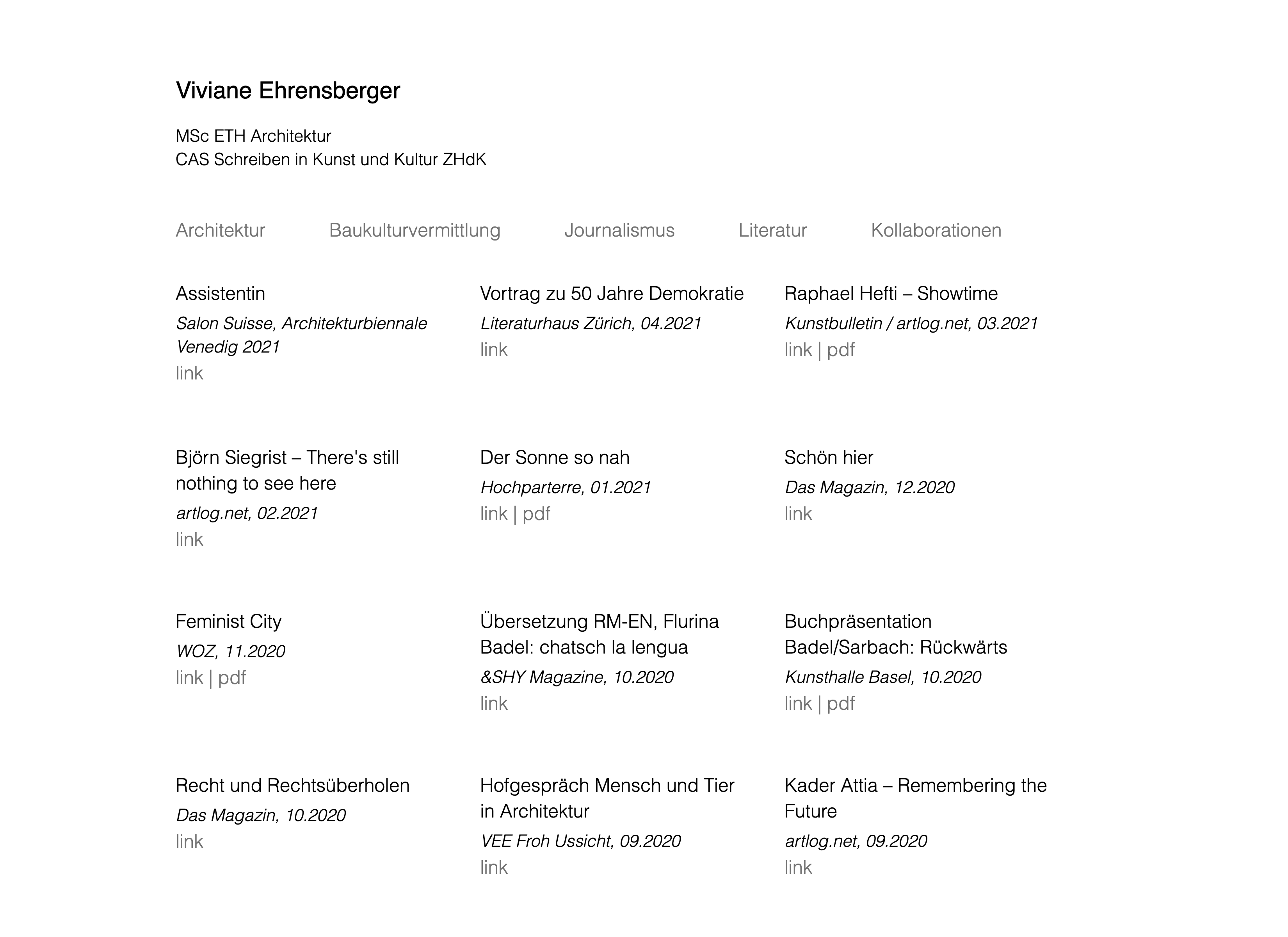 Screenshot of Viviane Ehrensberger's website
