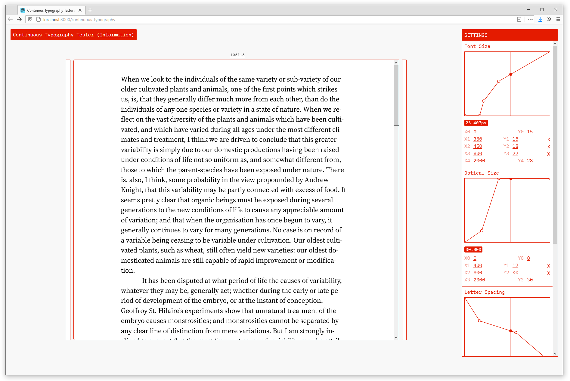 A screenshot of a user interface with a large paragraph of dummy text on the left, and a series of function graphs on the left