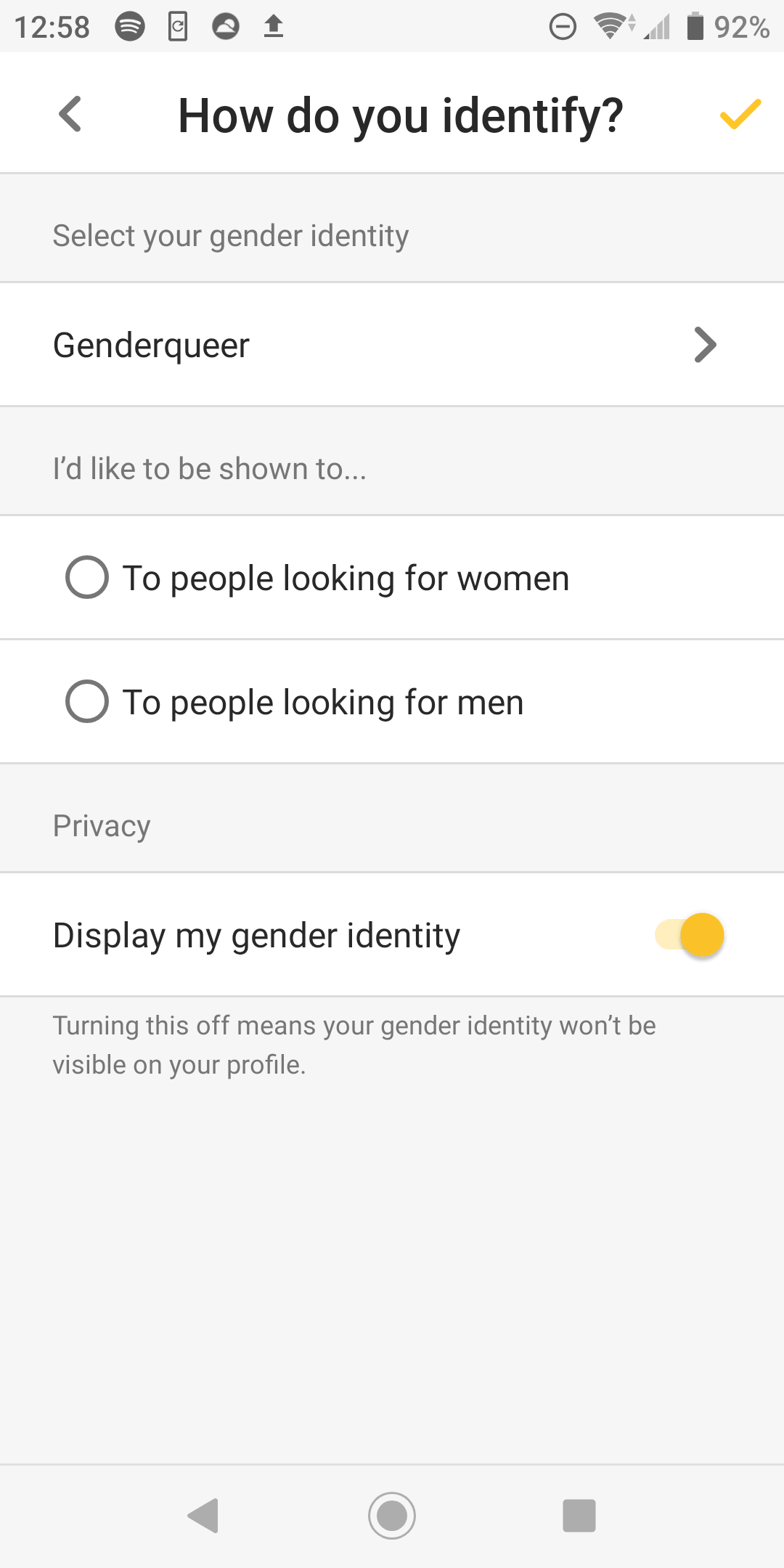 """The author's profile settings. Selections include """"genderqueer"""" and """"display my gender identity."""""""