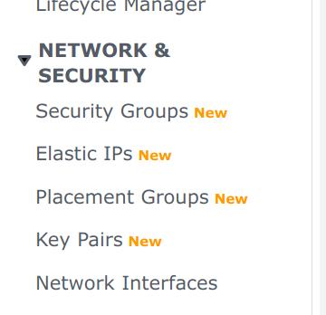 Screenshot inside AWS account EC2 Dashboard, showing side menu