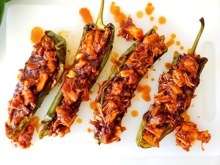 Roasted Anaheim peppers stuffed with bbq jackfruit