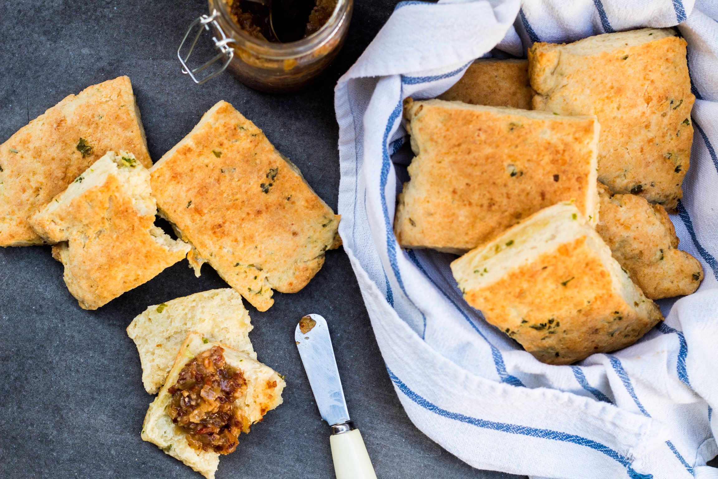 Cheddar chive and herb biscuits and bacon bourbon jam
