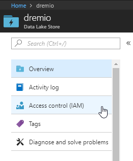 setting up access control (IAM) in Azure Data Lake Store