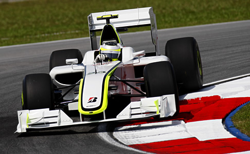 Jenson Button driving the BGP 001 Formula One car