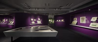 A section of the exhibition, with purple wall showcases and a silver table-top showcase in the middle. Maps are on display.