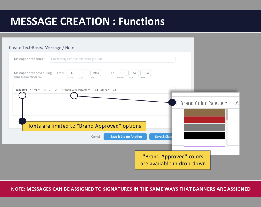 email signature dashboard - message creation
