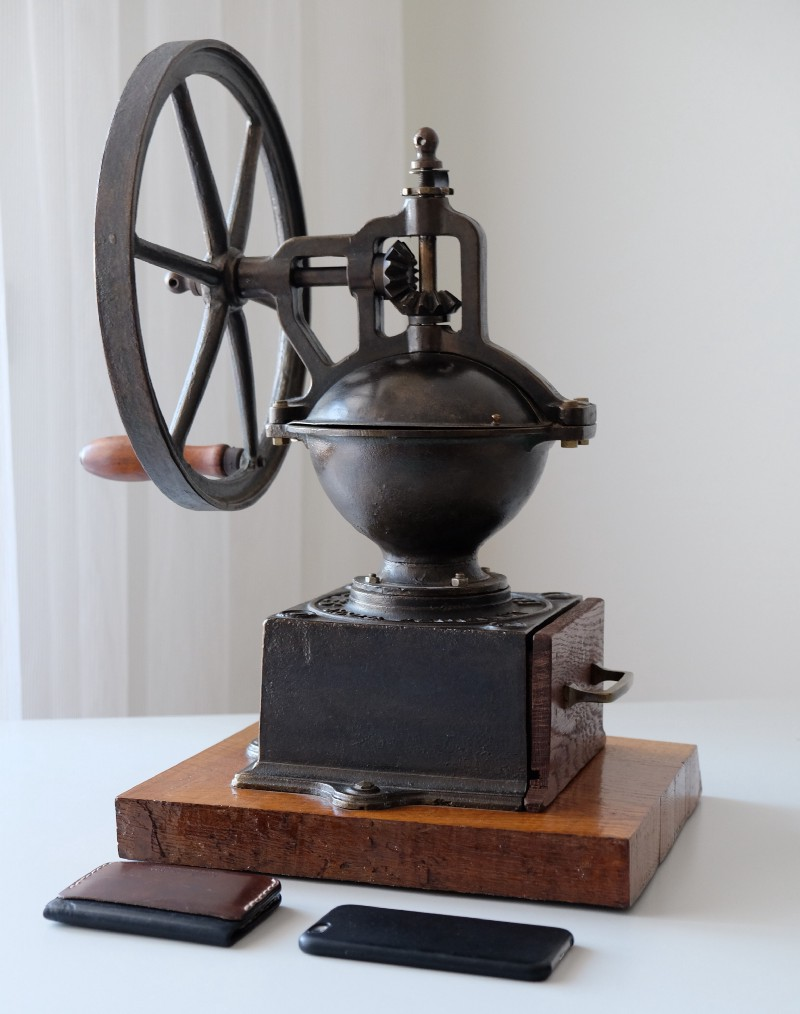 130 year old Antique Peugeot Grinder I bought from a live auction (iPhone is included for comparison)