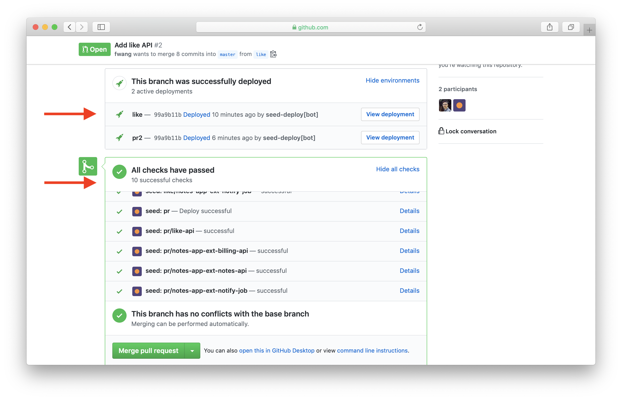 Show pull request checks in GitHub