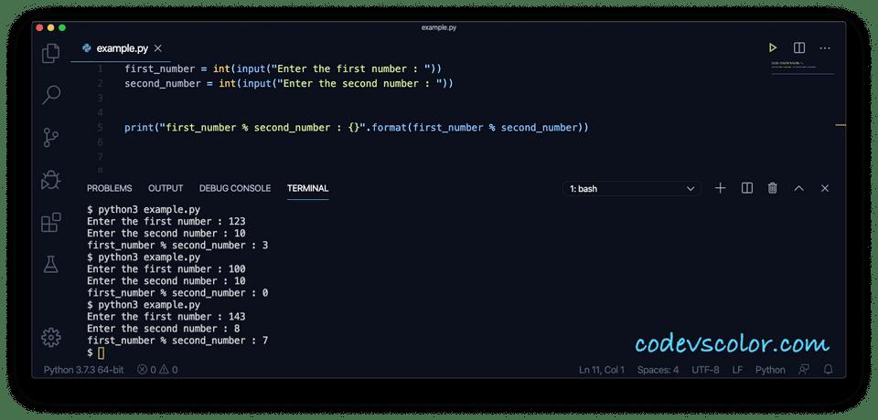 Python modulo example