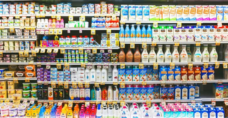 Grocery stores dairy and dairy-free milk selection