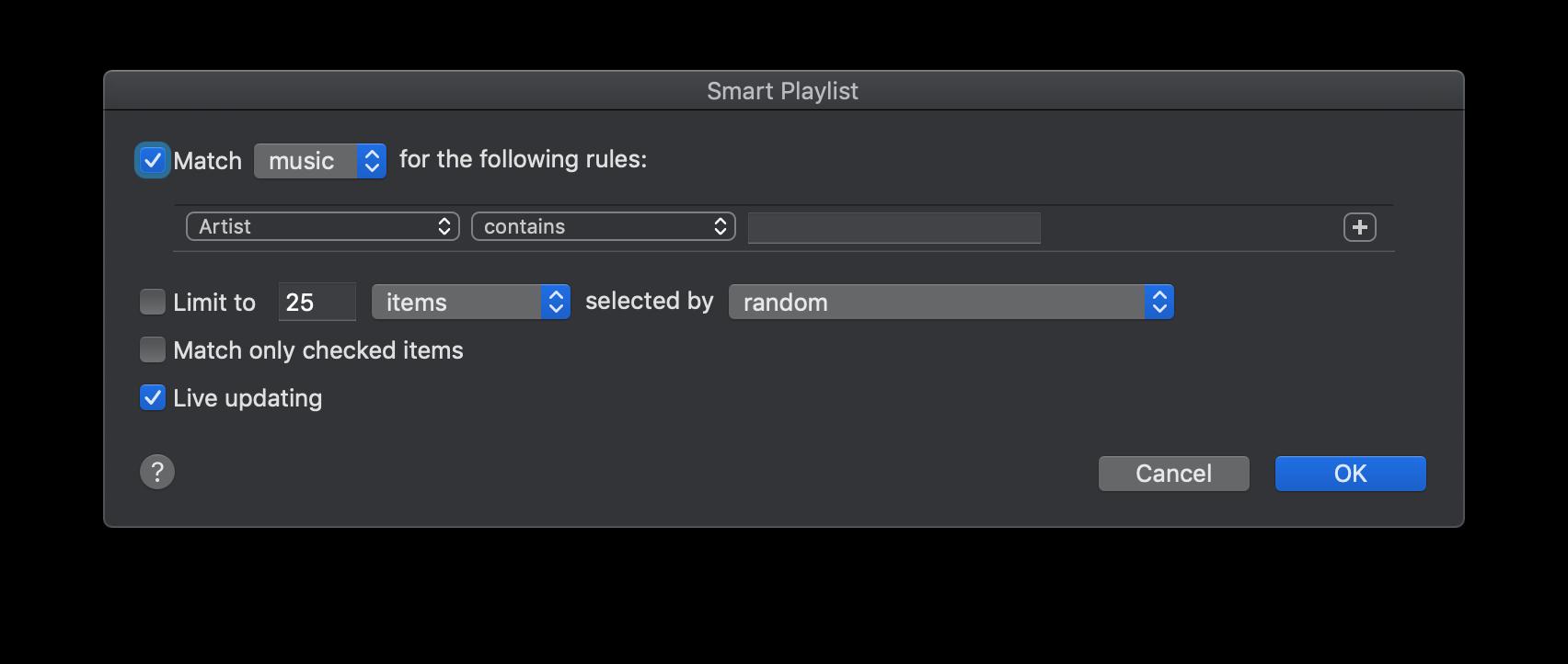 스마트 플레이리스트는 규칙에 따르는 음악들을 담을 수 있습니다.