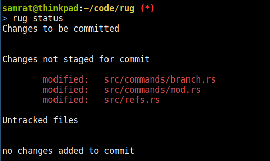 rug showing the (git) status for it's own code repository