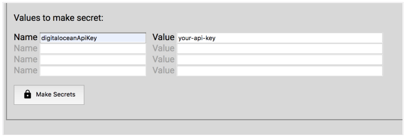 DigitalOcean bill in Slack by adding your api secrets in the Nimbella secret creator