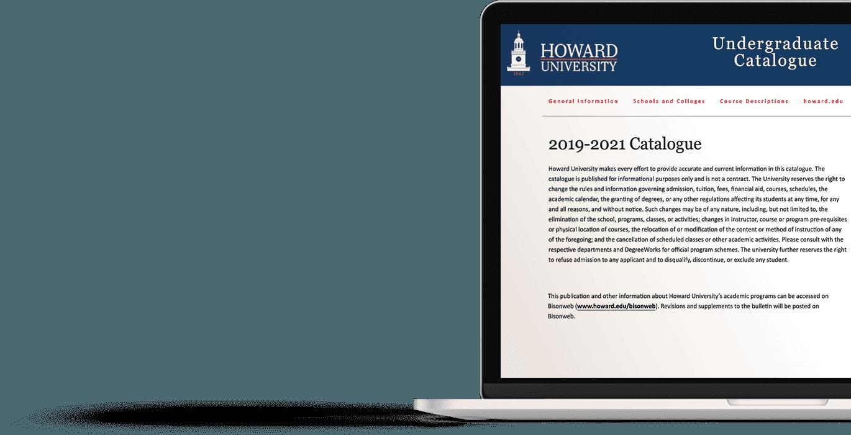 University Catalog displayed on a laptop