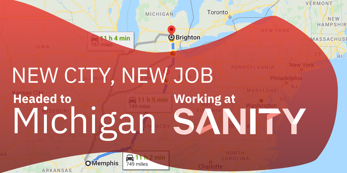New City, New Job: Headed to Michigan and Working at Sanity with map in the background showcasing the route from Memphis to Michigan