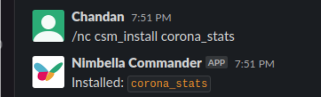 corona stats being installed in slack with nimbella commander