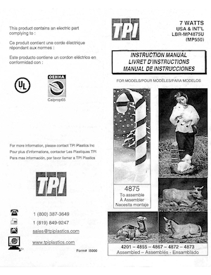 TPI Plastics Candy Cane #4875, Camel #4201, Shepherd With Lambs #4855, 4867, Donkey #4872, Ox #4873 Instruction Manual.pdf preview